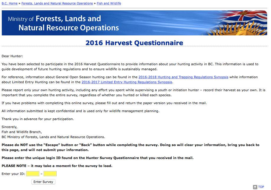 2016 Hunter Questionnaire Website Screenshot
