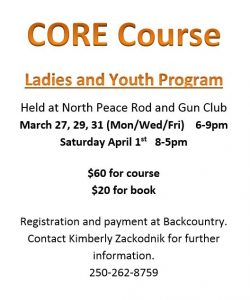 Ladies and Youth CORE Course Poster