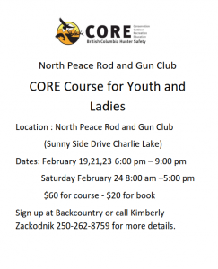 Poster CORE Course for Youth and Women February 2018