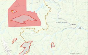 Map of Lower Post Wildfire August 22, 2018